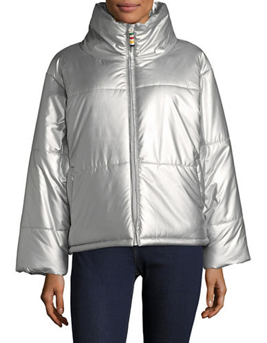 HudsonS Bay Company Womens Boxy Puffer Jacket-SILVER-Small