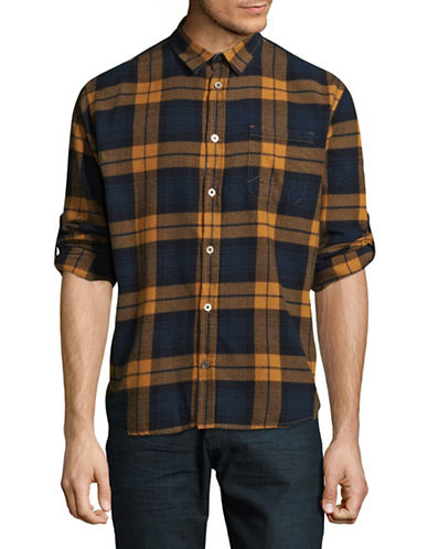 Manguun Plaid Cotton Sport Shirt-ORANGE-Small