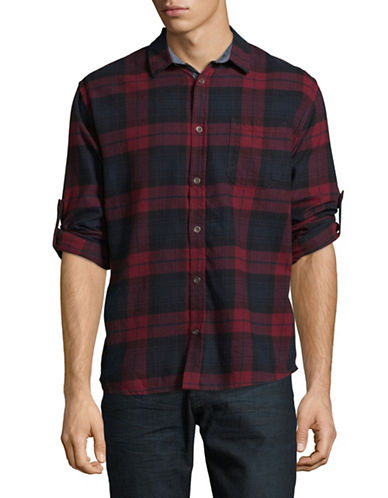 Manguun Plaid Cotton Sport Shirt-RED-Large