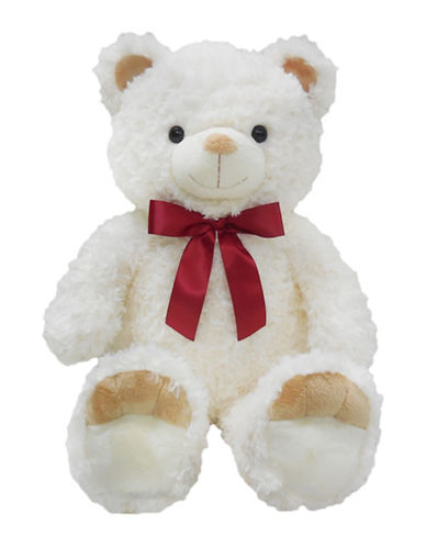 Bob Der Bar Red Ribbon Bow Plush Teddy Bear-WHITE-One Size