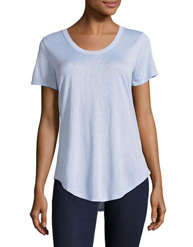 H Halston U-Neck T-Shirt-BLUE-X-Small