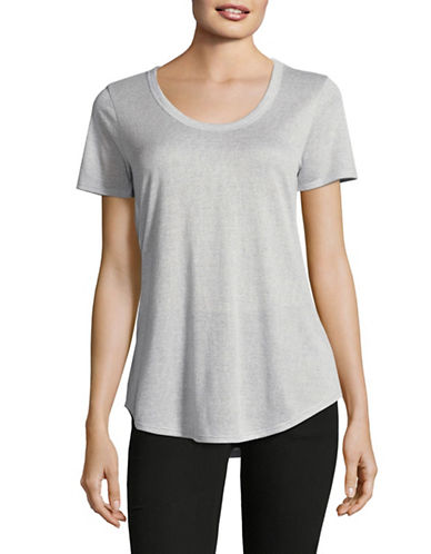 H Halston U-Neck T-Shirt-GREY-Large