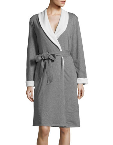 Lord & Taylor Reversible Cotton Robe-SILVER-Small