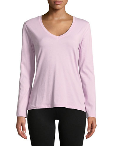 Lord & Taylor V-Neck Cotton Tee-LILAC-Large