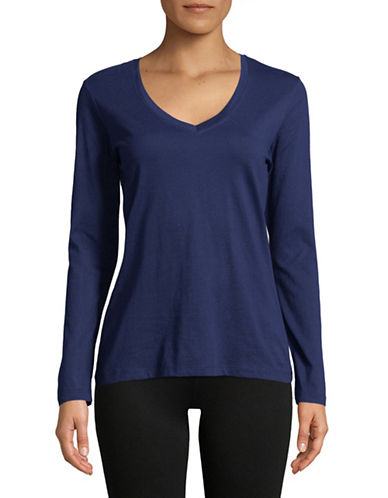 Lord & Taylor V-Neck Cotton Tee-NAVY NIGHT-Small