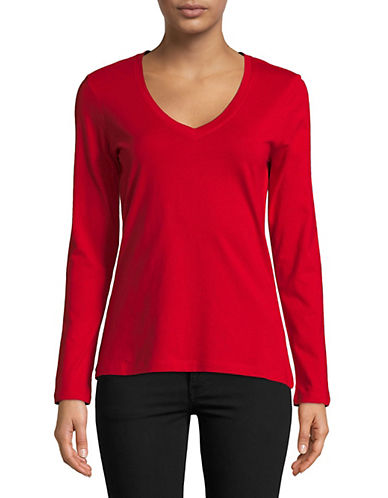 Lord & Taylor V-Neck Cotton Tee-CRIMSON-Medium