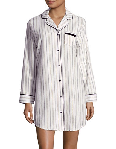 Lord & Taylor Flannel Sleepshirt-WHITE-Medium