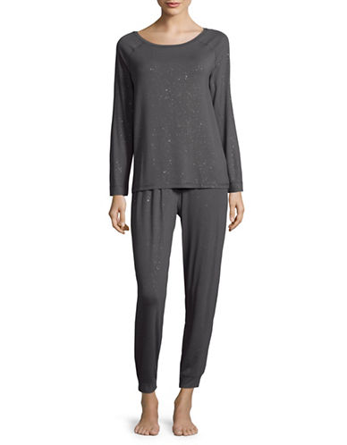 Lord & Taylor Metallic Knit Pyjama Set-GREY-Small