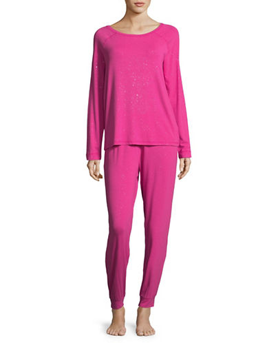 Lord & Taylor Metallic Knit Pyjama Set-PINK-Medium