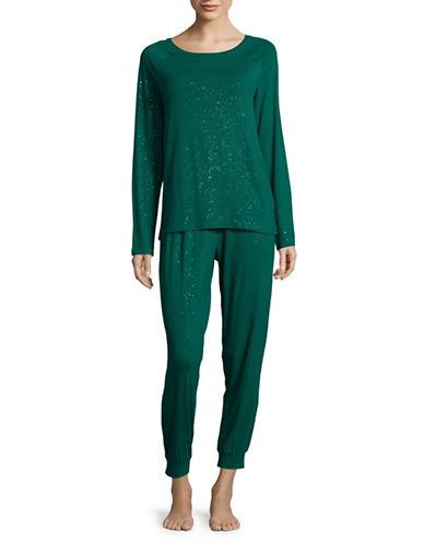 Lord & Taylor Metallic Knit Pyjama Set-GREEN-Medium