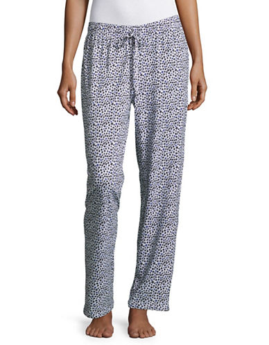 Lord & Taylor Heart Drawstring Pants-WHITE-Medium