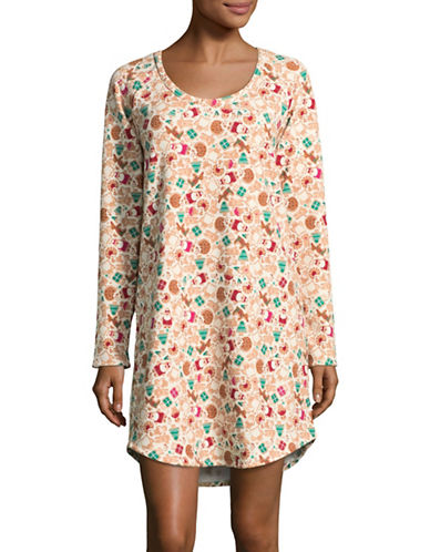 Lord & Taylor Graphic Long-Sleeve Sleepshirt-GINGER-Large