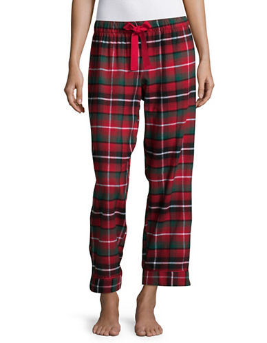 Lord & Taylor Printed Cotton Flannel Pants-RED-Medium