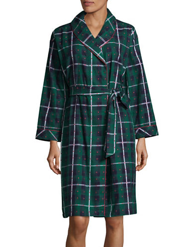 Lord & Taylor Plaid Flannel Robe-GREEN-Large