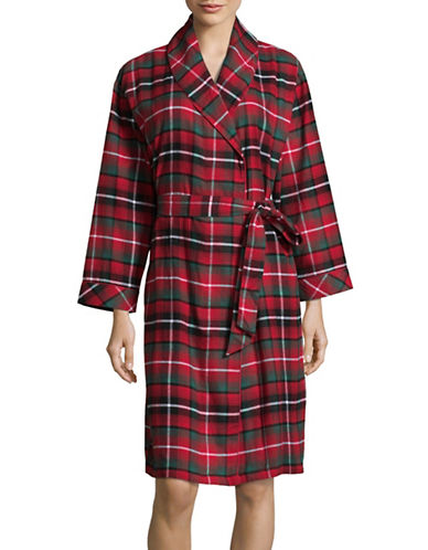 Lord & Taylor Plaid Flannel Robe-CRANBERRY-M