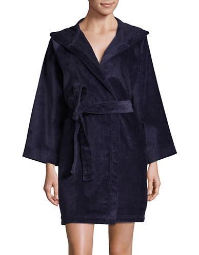 Lord & Taylor Hooded Cotton Robe-BLUE-Large