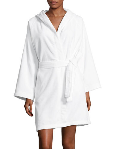 Lord & Taylor Hooded Cotton Robe-WHITE-Large