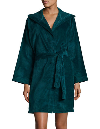Lord & Taylor Hooded Cotton Robe-BLUE-X-Large