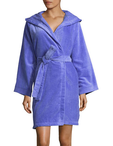 Lord & Taylor Hooded Cotton Robe-BAJA BLUE-Small