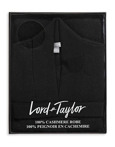 Lord & Taylor Cashmere Belted Robe Cardigan-BLACK-Small