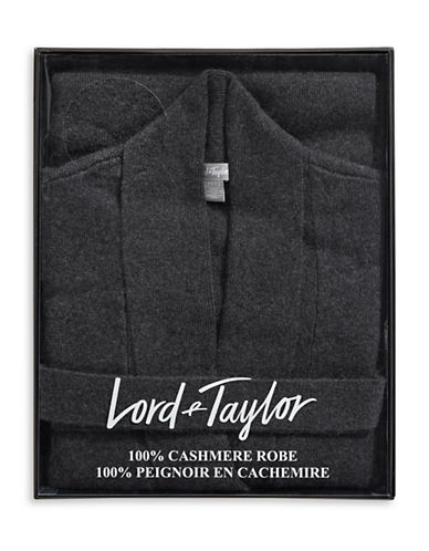 Lord & Taylor Cashmere Belted Robe Cardigan-CHARCOAL-X-Large