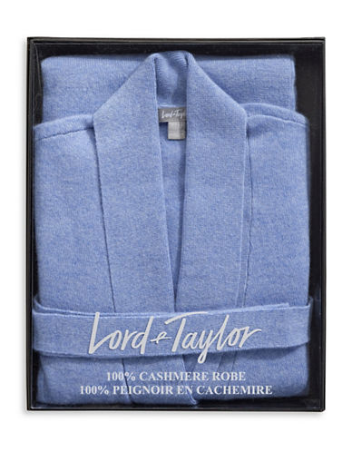 Lord & Taylor Cashmere Belted Robe Cardigan-GLACIER BLUE-Medium