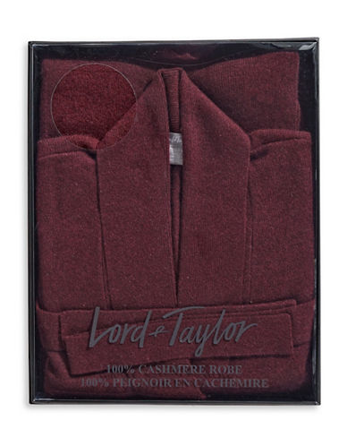 Lord & Taylor Cashmere Belted Robe Cardigan-BURGUNDY-Large
