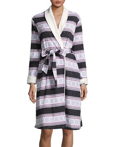 Lord & Taylor Reversible Self-Tie Cotton Robe-PINK FLORAL-Medium