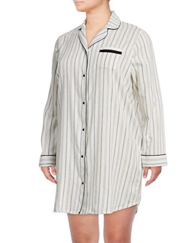 Lord & Taylor Plus Classic Cotton Button-Down Shirt-WHITE-1X
