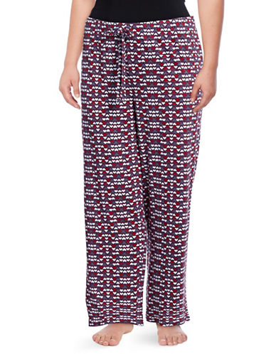 Lord & Taylor Plus Star Print Pyjama Pants-HEART-3X
