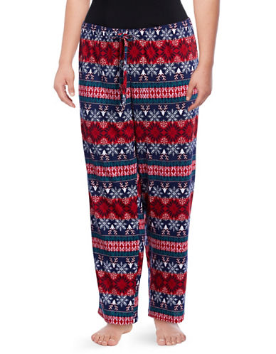Lord & Taylor Plus Star Print Pyjama Pants-REINDEER-1X