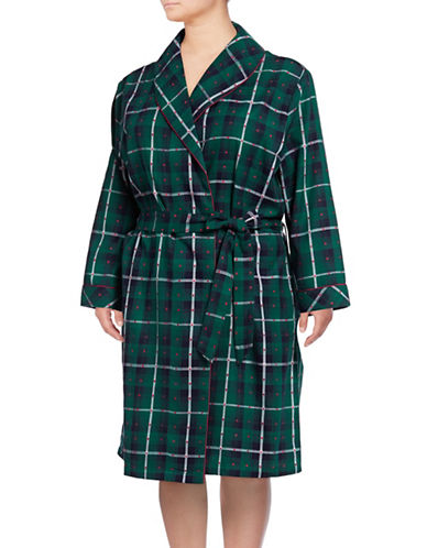 Lord & Taylor Plaid Cotton Robe-GREEN-2X