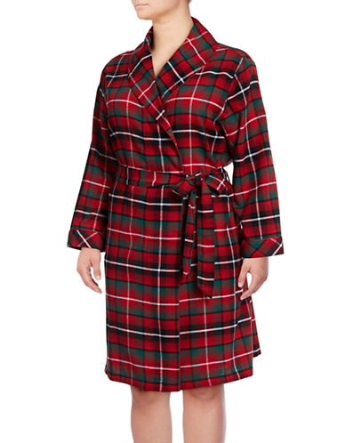 Lord & Taylor Plaid Cotton Robe-RED-1X