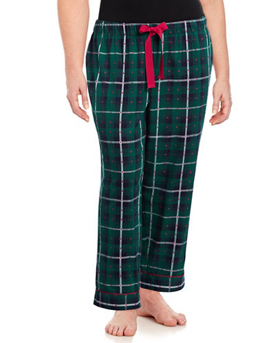Lord & Taylor Bootcut Plaid Pants-GREEN-1X
