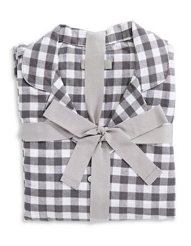 Lord & Taylor Plaid Cotton Pajamas-GREY/WHITE-Small