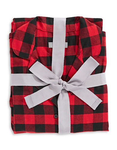 Lord & Taylor Plaid Cotton Pajamas-RED/BLACK-Large