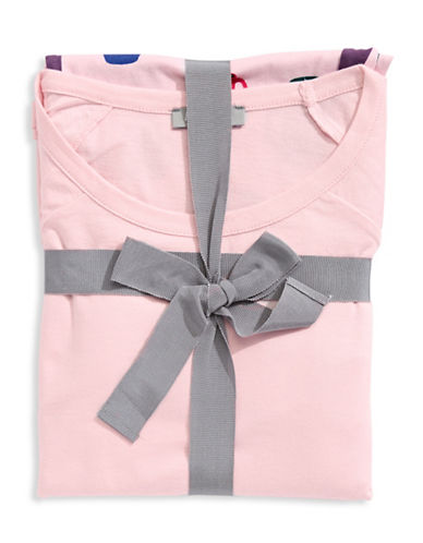 Lord & Taylor Cup Print Pyjama Set-PINK-Large