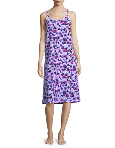 Lord & Taylor Printed Sleeveless Cotton Chemise-LILAC-Medium