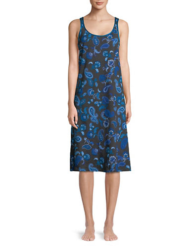 Lord & Taylor Printed Sleeveless Cotton Chemise-CHARCOAL-Medium