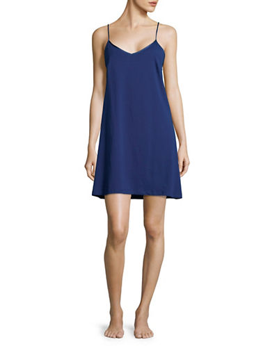 Lord & Taylor Vintage Cotton Chemise-NAVY NIGHT-Small