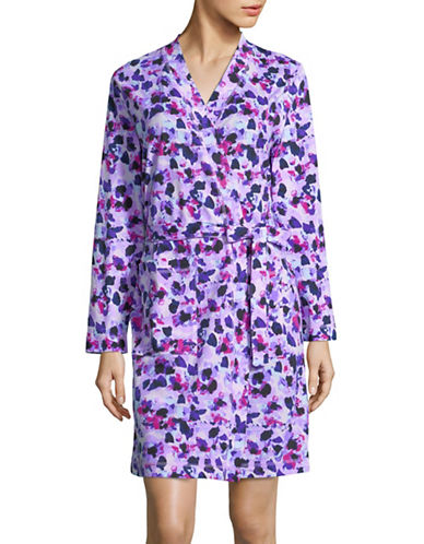 Lord & Taylor Printed Cotton Robe-MULTI-Large