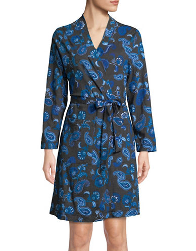Lord & Taylor Printed Cotton Robe-BLUE PAISLEY-Medium
