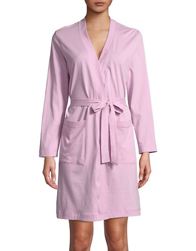 Lord & Taylor Printed Cotton Robe-VINTAGE LILAC-Medium