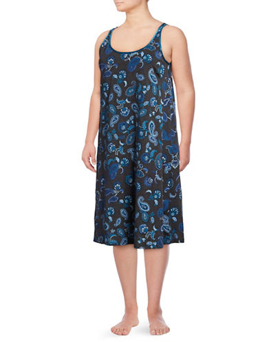 Lord & Taylor Plus Paisley Long Cotton Chemise-CHARCOAL-2X