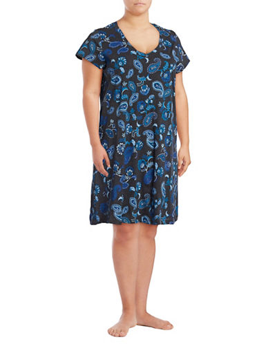 Lord & Taylor Plus Printed Short Sleeve Nightgown-CHARCOAL-3X