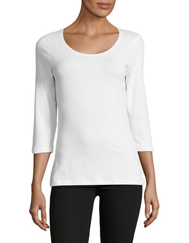 Lord & Taylor Begonia Three-Quarter Sleeve Top-WHITE-Medium