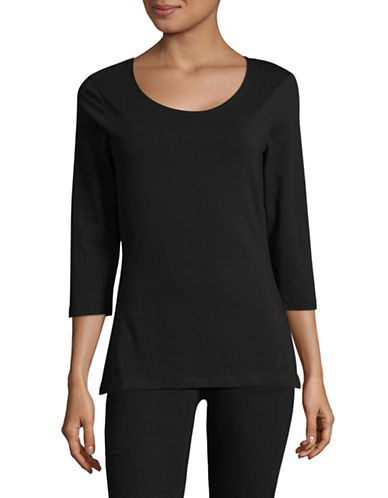 Lord & Taylor Begonia Three-Quarter Sleeve Top-BLACK-Medium 89424783_BLACK_Medium