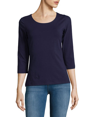 Lord & Taylor Begonia Three-Quarter Sleeve Top-EVENING BLUE-X-Small