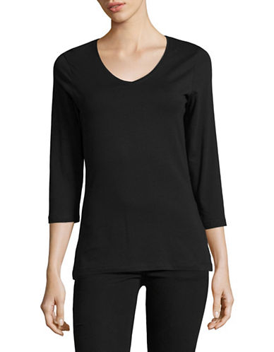 Lord & Taylor Three-Quarter Sleeve Tee-BLACK-X-Small