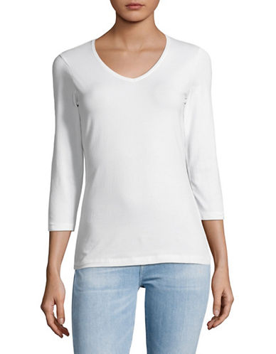 Lord & Taylor Three-Quarter Sleeve Tee-WHITE-Medium